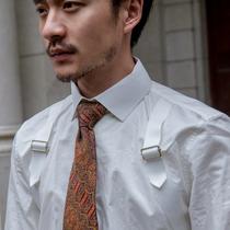 SOARIN英伦复古工装打底白色长袖衬衫男 纯棉休闲衬衣可拆卸换领