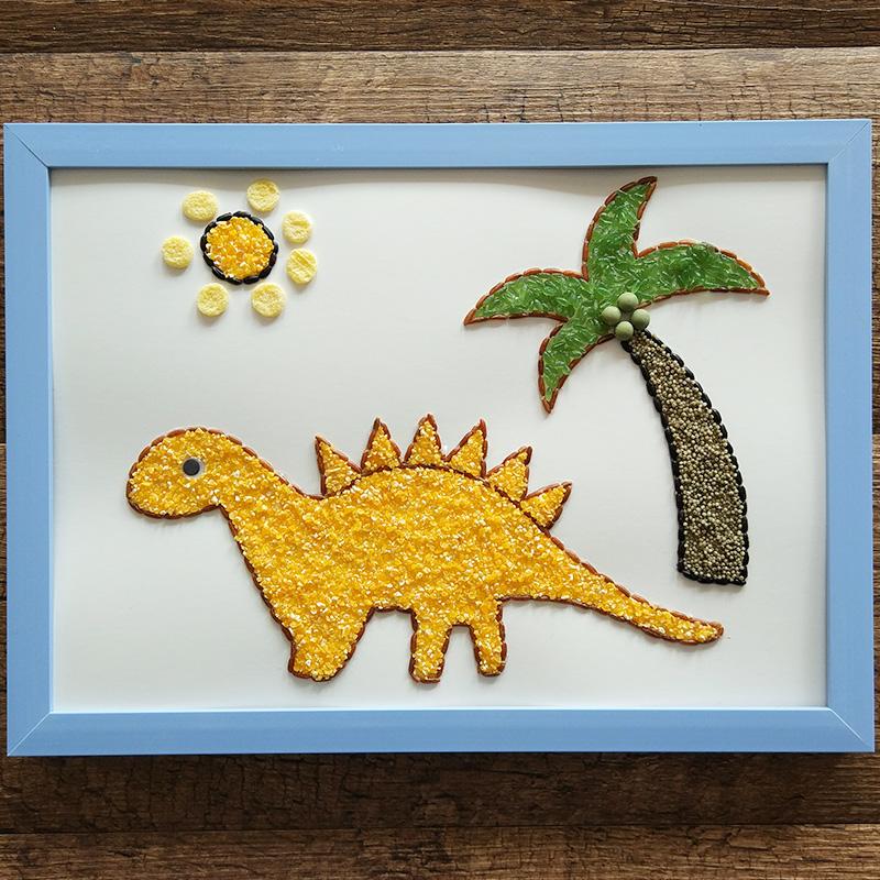 手工制作豆子画_热卖包邮手工制作儿童diy种子画幼儿园亲子活动作品 蘑菇小房子a4相框