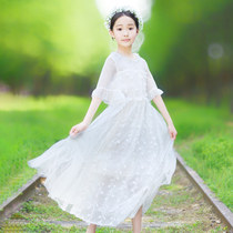 中大女童洋气白色立体蕾丝长连衣裙女孩小学生短袖夏季气质公主裙
