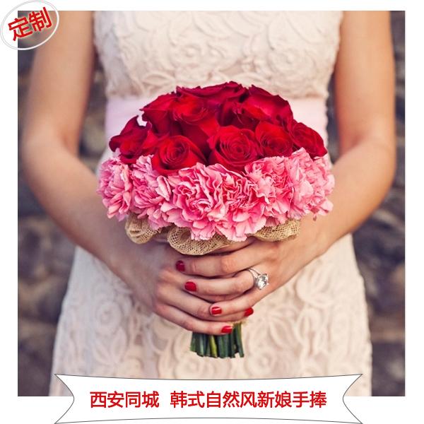 中式玫瑰满天星新娘伴娘结婚手捧花鲜花西安鲜花速递新品婚礼胸花图片