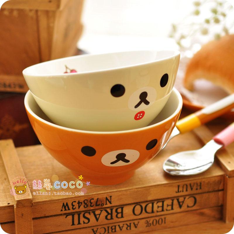 日本正版轻松熊可爱陶瓷碗日式创意汤碗饭碗茶碗儿童碗情侣碗女生