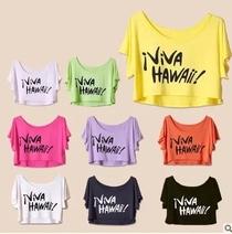 夏季女装大码短袖T恤莫代尔短款罩衫蝙蝠衫宽松印花超短露脐衫潮