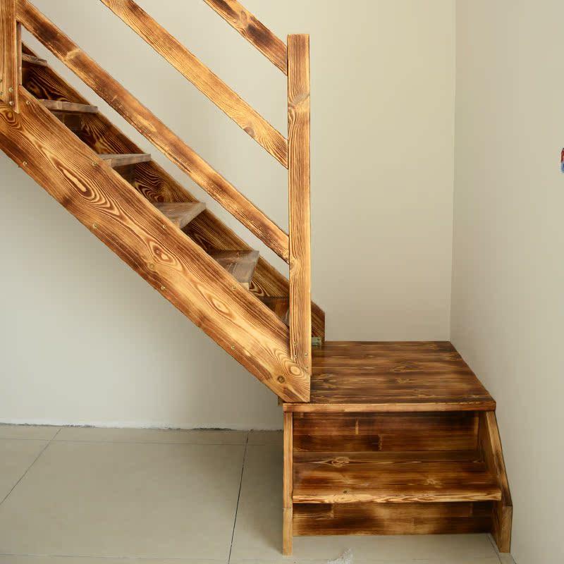 复式跃层梯碳化木做的楼梯直角转弯阁楼梯子家用梯可定制工厂直销图片