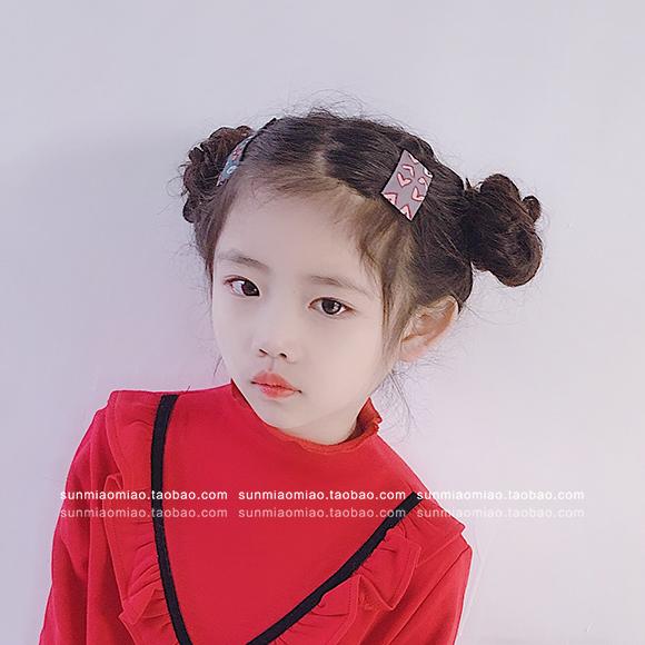 韩国儿童发饰品发夹大童女童布艺碎花边夹刘海夹头饰品bb夹方形夹图片