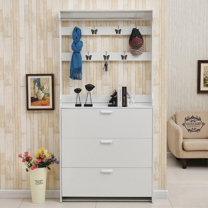 带挂衣架鞋柜门口简易多功能简约现代经济型门厅柜省空间超薄家用