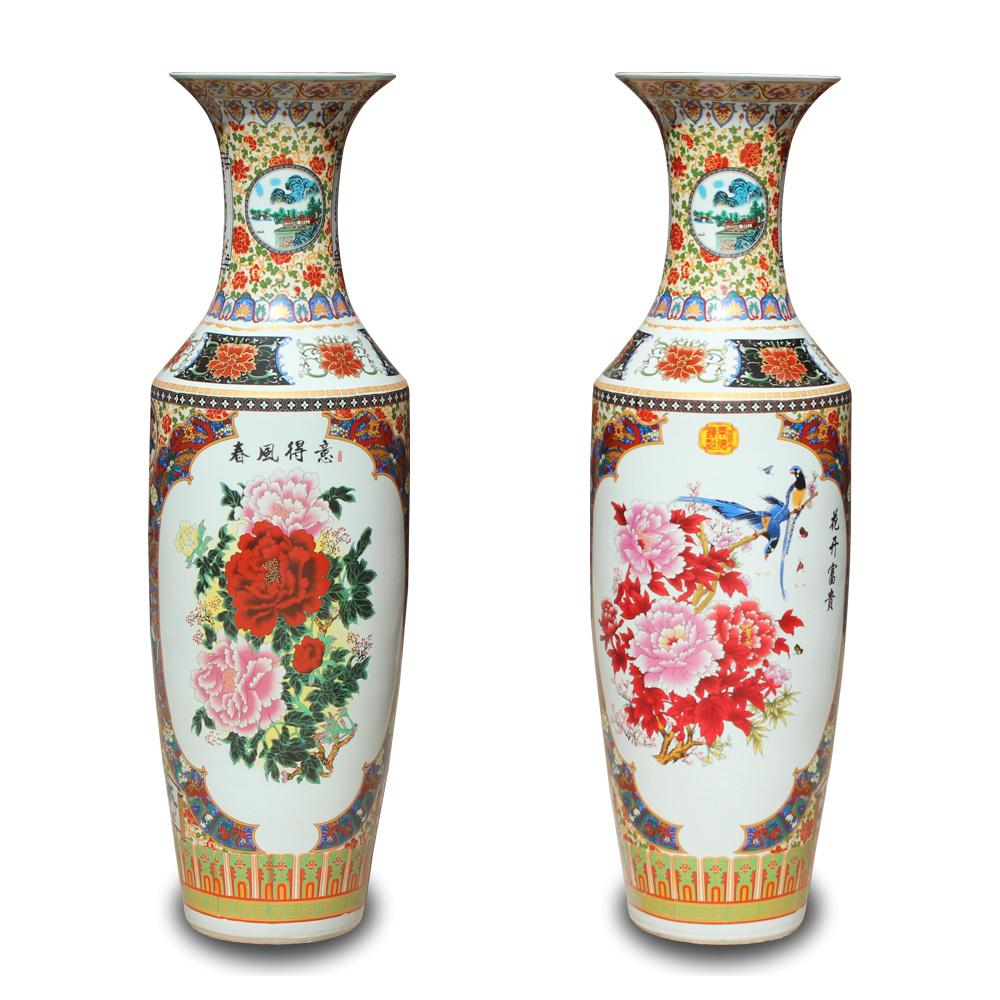 热卖景德镇陶瓷器手绘青花瓷锦绣山河落地大花瓶客厅别墅摆件开业礼品