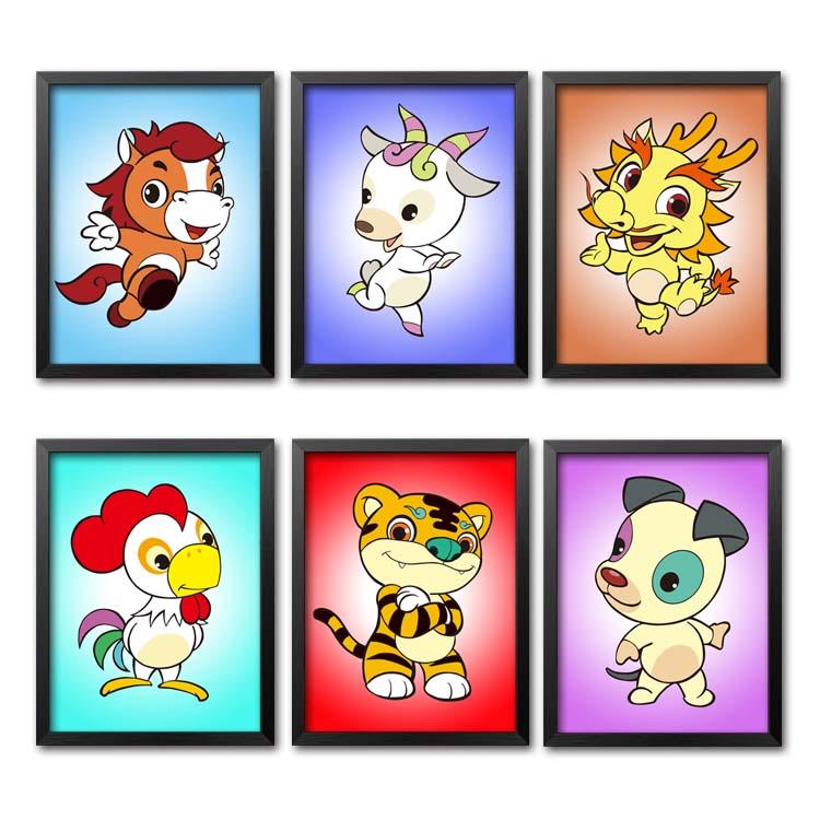 热卖十二生肖装饰画个性12生肖挂画卡通动物创意有框墙画壁画单幅组合图片