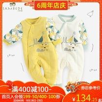 【夹棉】男童宝宝连体衣新生婴儿外出保暖哈衣幼儿爬服秋冬装衣服