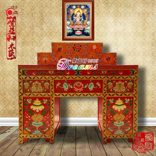 热卖厂家直销藏式三台精美大佛龛佛柜家庭佛堂专用中式手绘实木神龛