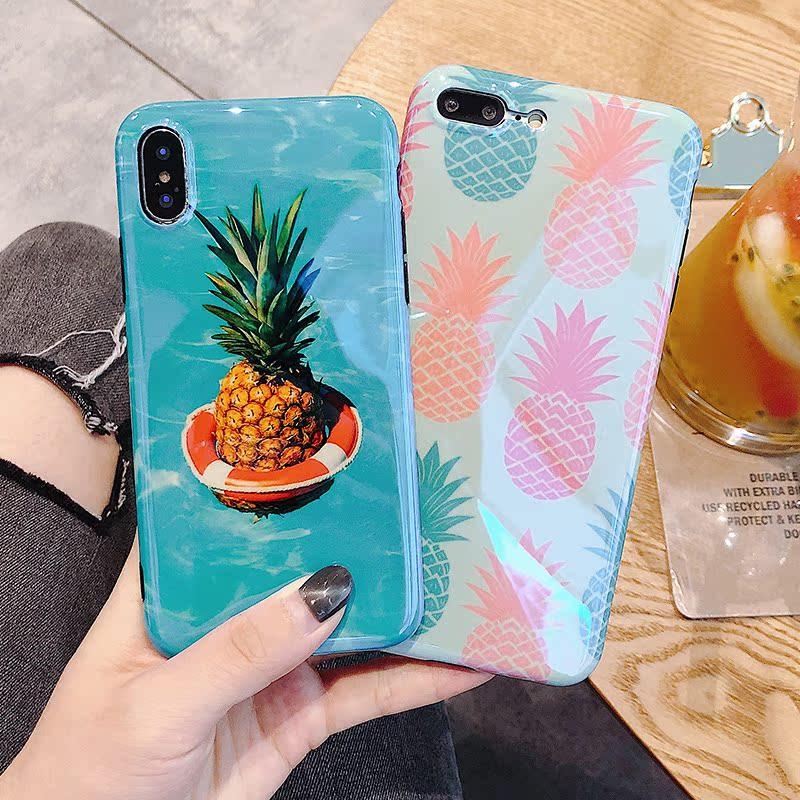 热卖水粉叶子6plus苹果x手机壳iphone7plus/8/6s女款全包绿叶春夏季潮