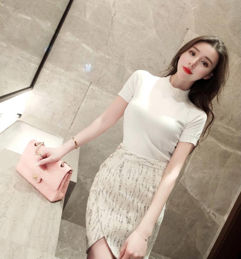 热卖veramoon白色烫钻针织衫女夏 短袖 薄款2018新款时尚圆领套头上衣图片