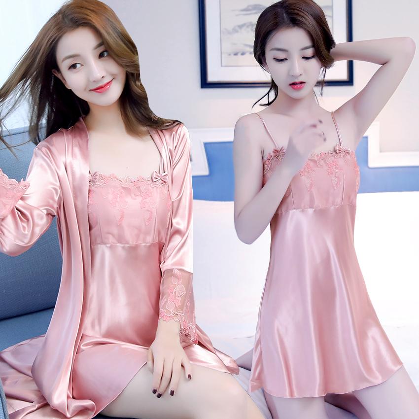 睡衣女夏季性感冰丝女士短袖睡袍吊带睡裙宽松春秋丝绸两件套装图片