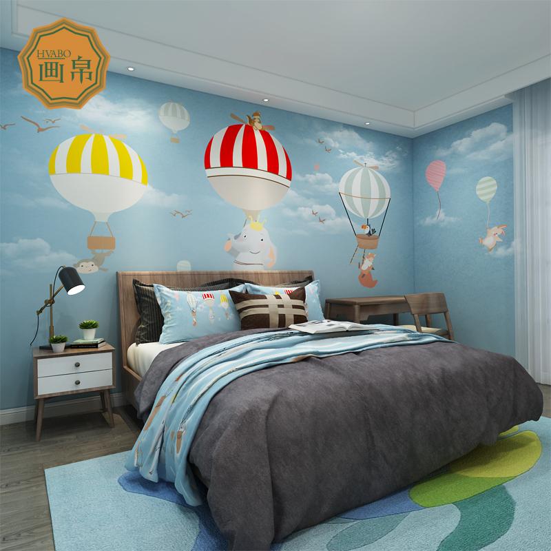 定制成语房卧室墙布北欧简约兔子a成语手绘壁纸小背景壁画气球等于时尚一只儿童加一只老虎热卖风老虎图片