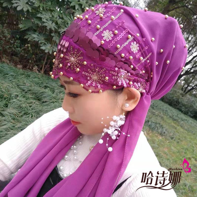 哈诗娜2019新款穆斯林纱巾盖头回族女士头巾亮片绑巾帽子纱巾款图片