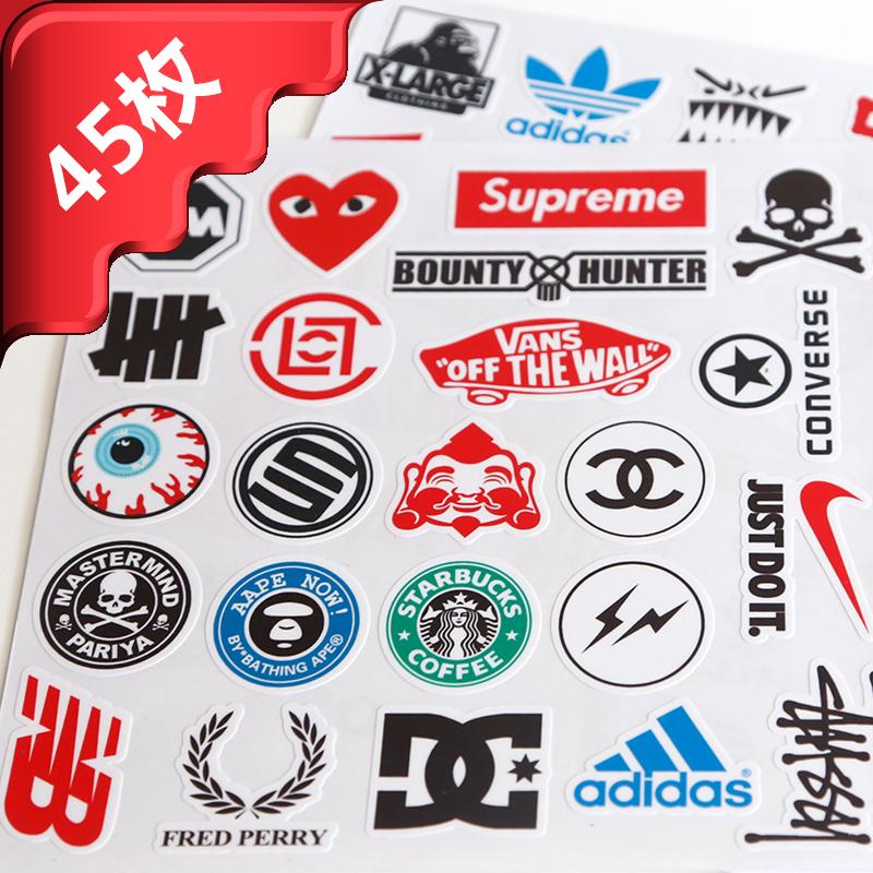 外国品牌_热卖五张包邮 潮牌外国品牌英文人物 旅行行李箱电脑防水小号手机贴纸