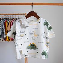 2019夏季男童短袖t恤儿童恐龙百搭T恤衫夏装宝宝印花半袖上衣体恤
