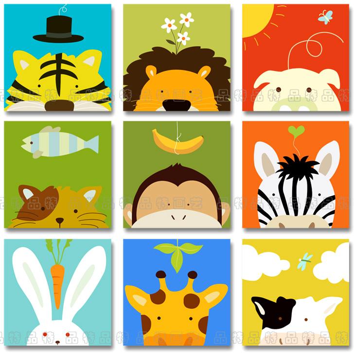 儿童房幼儿园小学教室儿童乐园卡通无框画装饰画壁画挂画木马童话图片