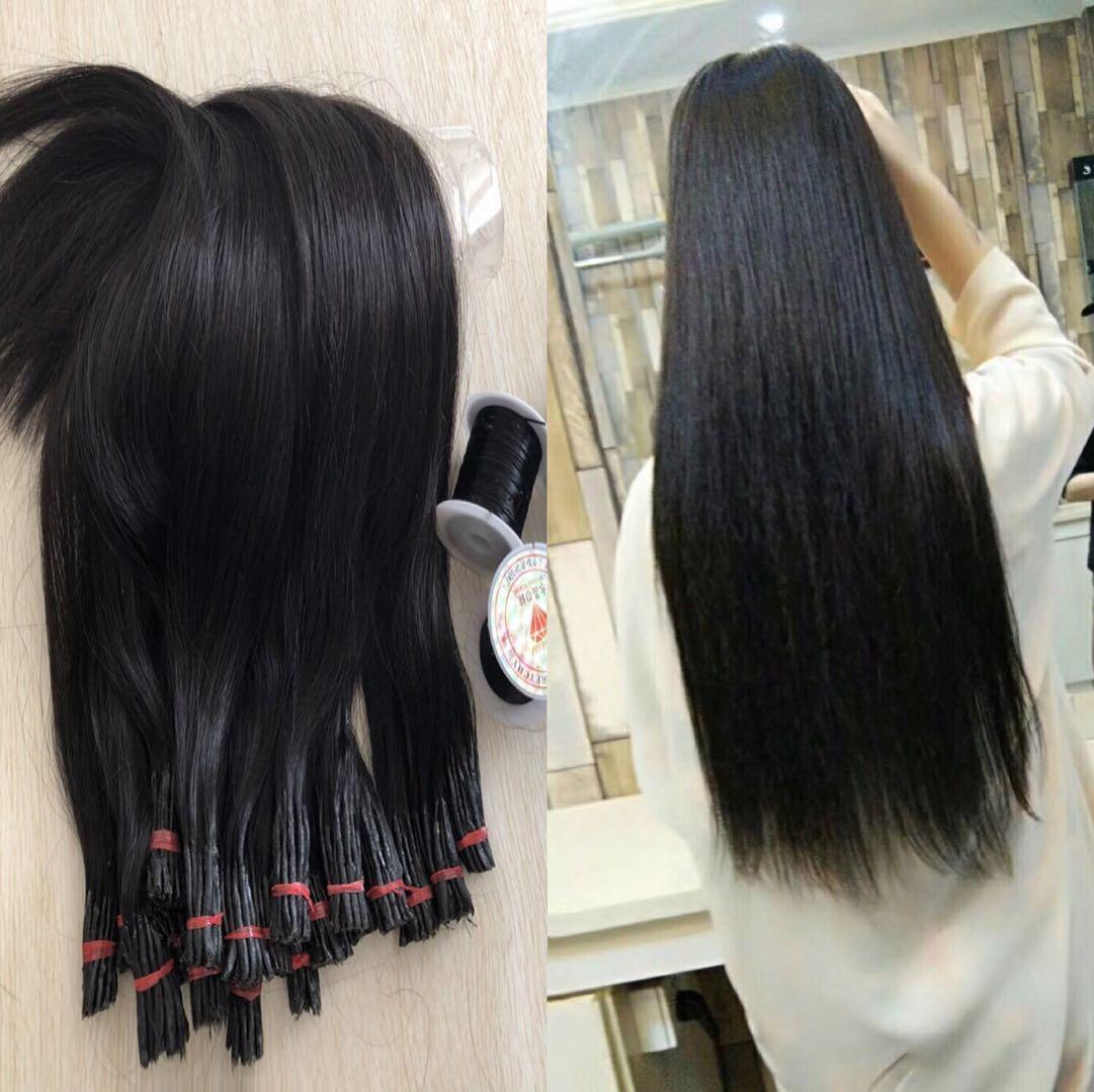 热卖厂家批发真发接发束100%真人发加粗真发接头发可染烫接发束纯真发