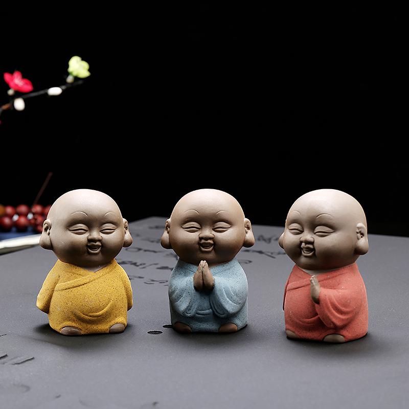 创意迷你紫砂茶宠小和尚禅意小僧家居办公室摆件可养茶童可爱变色图片