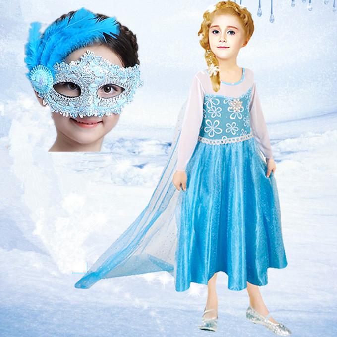 热卖万圣节公主服装艾莎公主衣服化妆舞会cos女儿童冰雪奇缘公主裙子