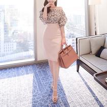 2019春夏韩版新款时尚高腰包臀裙开叉修身显瘦紧身中长一步半身裙