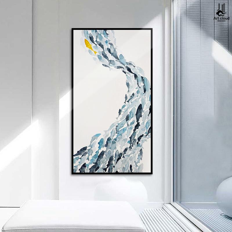 鱼趣 北欧风格玄关装饰画现代简约竖版过道壁画创意单幅走廊挂画图片