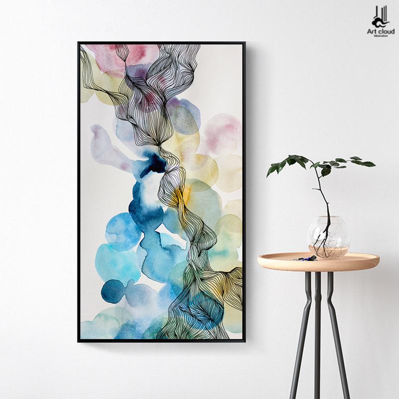 北欧抽象玄关装饰画竖版现代简约创意过道壁画走廊墙画客厅挂画图片
