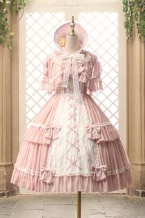 Alice girl原创新款 lolita洛洛小姐蕾丝蝴蝶结绑带吊带连衣裙