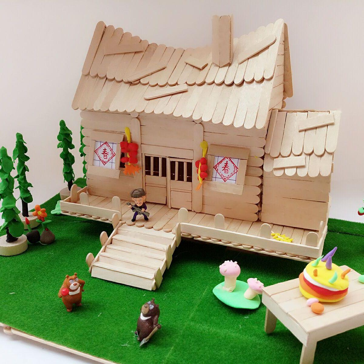 冰棒棍手工制作diy房子材料儿童建筑模型雪糕棒光头强木屋套装