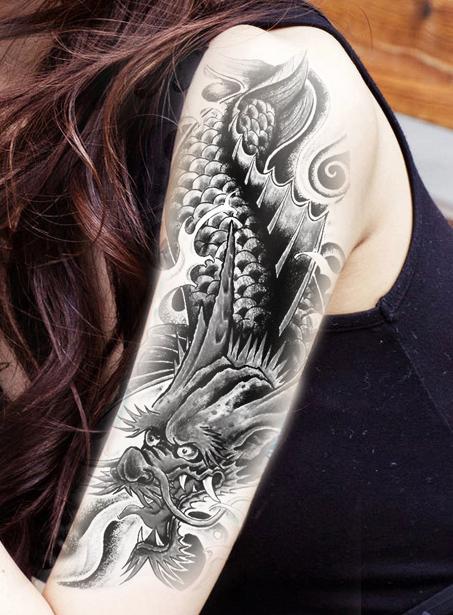 鲤鱼化龙半臂纹身贴男女 图腾彩绘防水持久逼真花臂刺青纹身贴纸图片