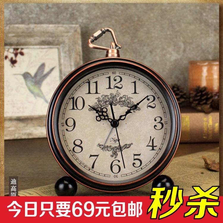 热卖老欧式复古时钟摆件 客厅钟表桌面样板间座钟台钟仿古挂钟小闹钟图片