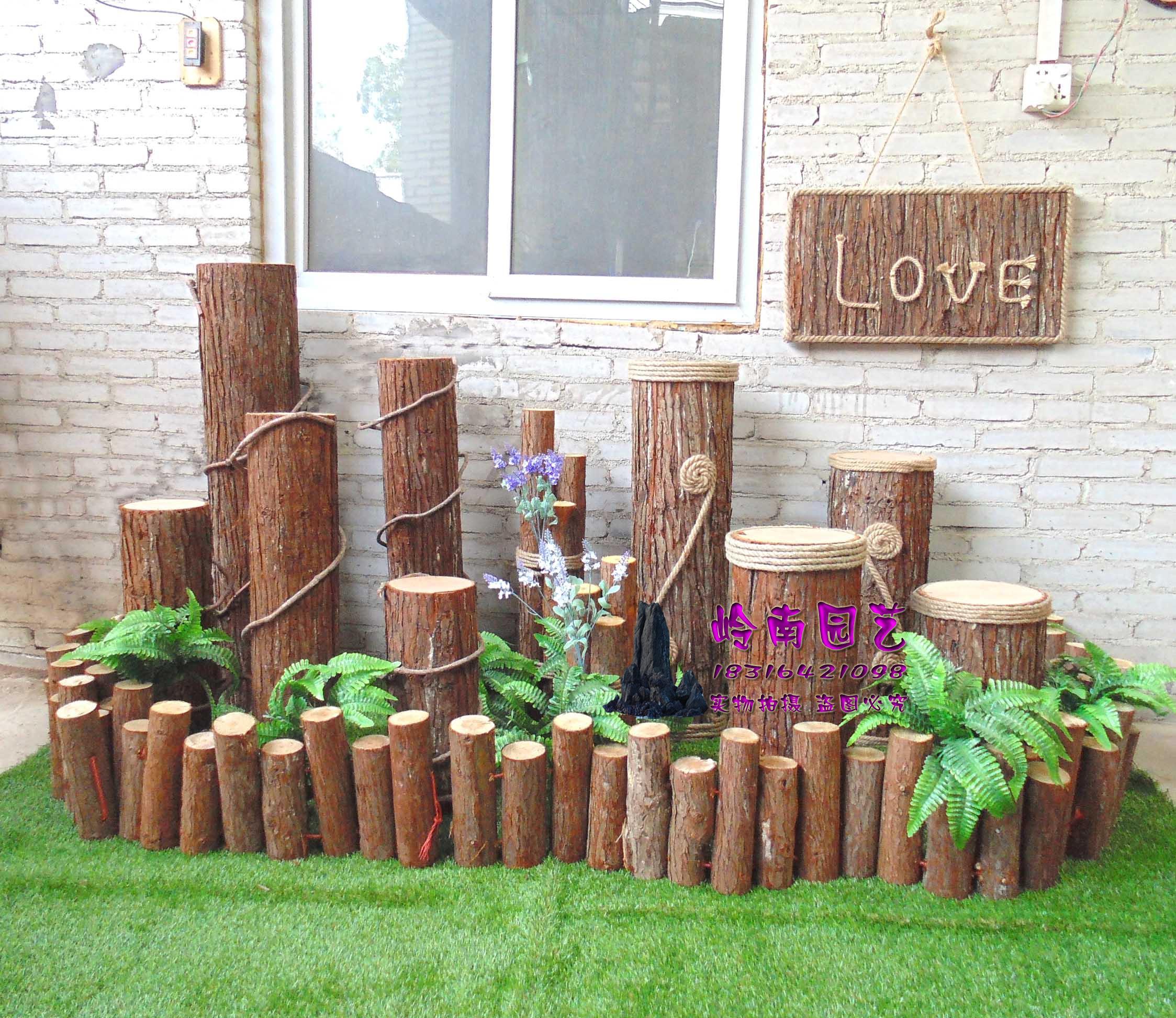 热卖装饰木桩展厅橱窗道具原木栅栏篱笆实木护栏木木桩围栏圆木杉木pvc冰箱贴动物图片