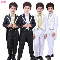 花童礼服男童礼服套装婚礼儿童燕尾服英伦小西装钢琴演出服装男孩