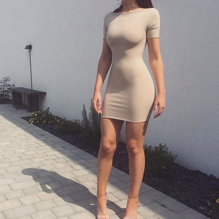 冰丝修身包臀裙晚礼服伪娘cd变装性感弹力齐臀诱惑紧身包臀连衣裙