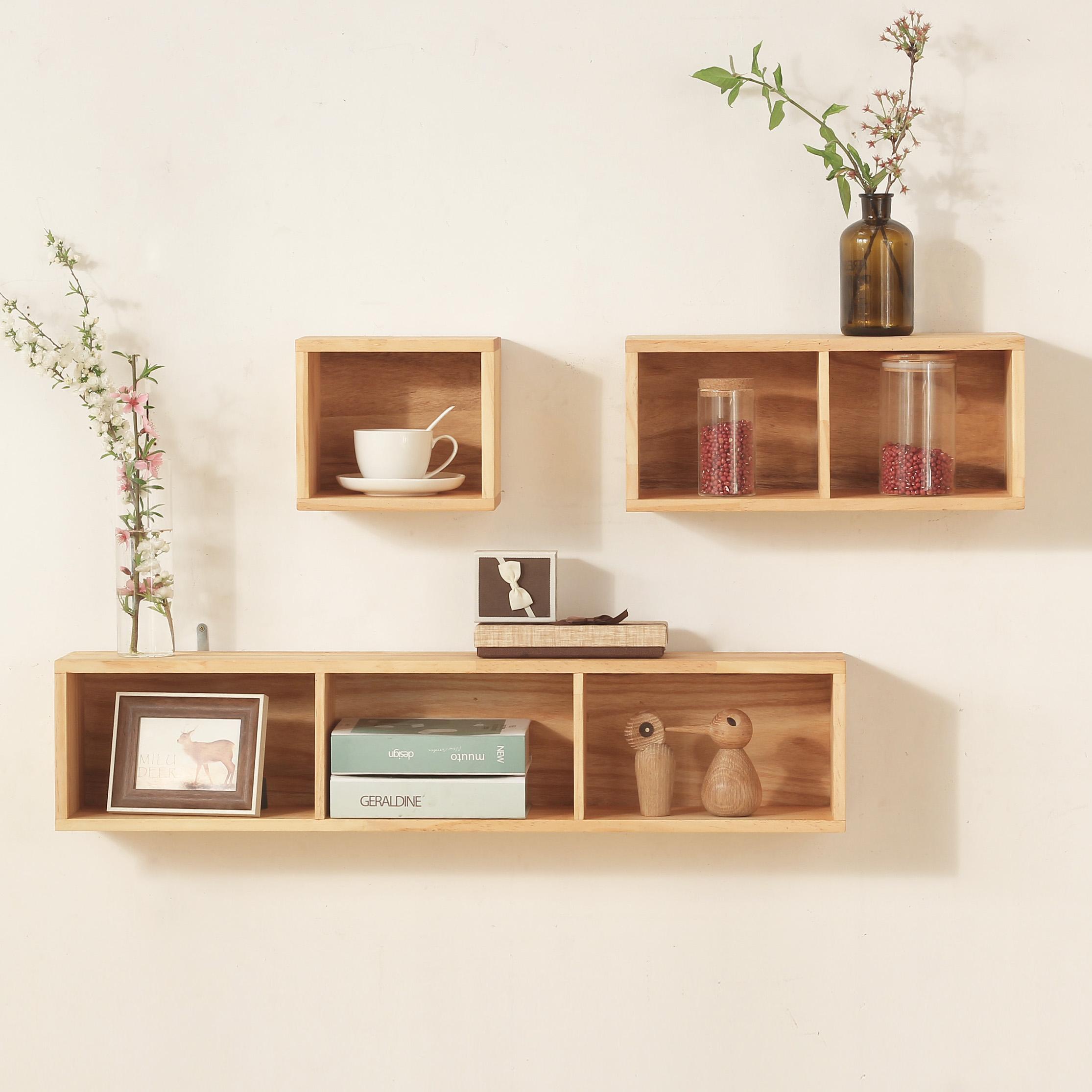 实木置物架壁挂 北欧客厅电视墙造型置物架子创意格子 书架置物架图片