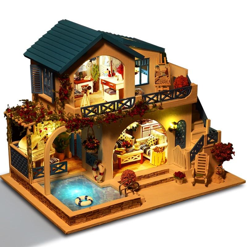 热卖diy小屋别墅手工制作迷你小房子模型拼装玩具益智创意生日礼物女