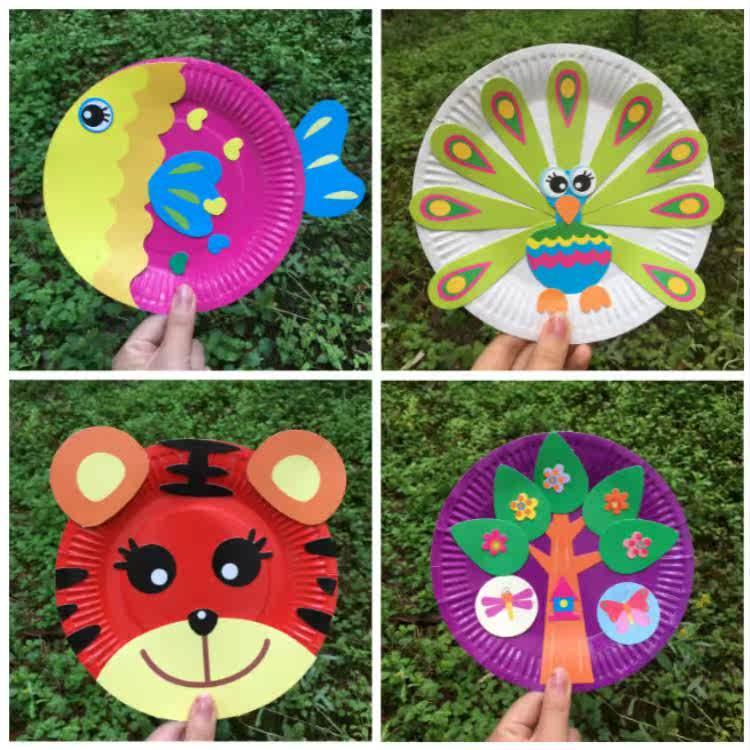 儿童手工纸盘画 diy制作材料创意益智 幼儿园大班中班美术区玩具图片