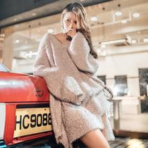 秋装女2019新款网红同款慵懒风宽松气质毛衣女泡泡袖小心机针织衫