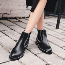 大码41-43短靴厚底机车靴铆钉女靴短筒裸靴切尔西靴子马丁靴40-42