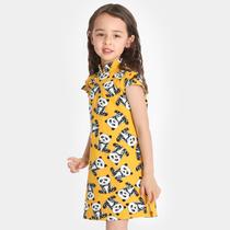 雅童小铺 黄底熊猫女童95棉短袖旗袍 2019夏装新款中式童装连衣裙