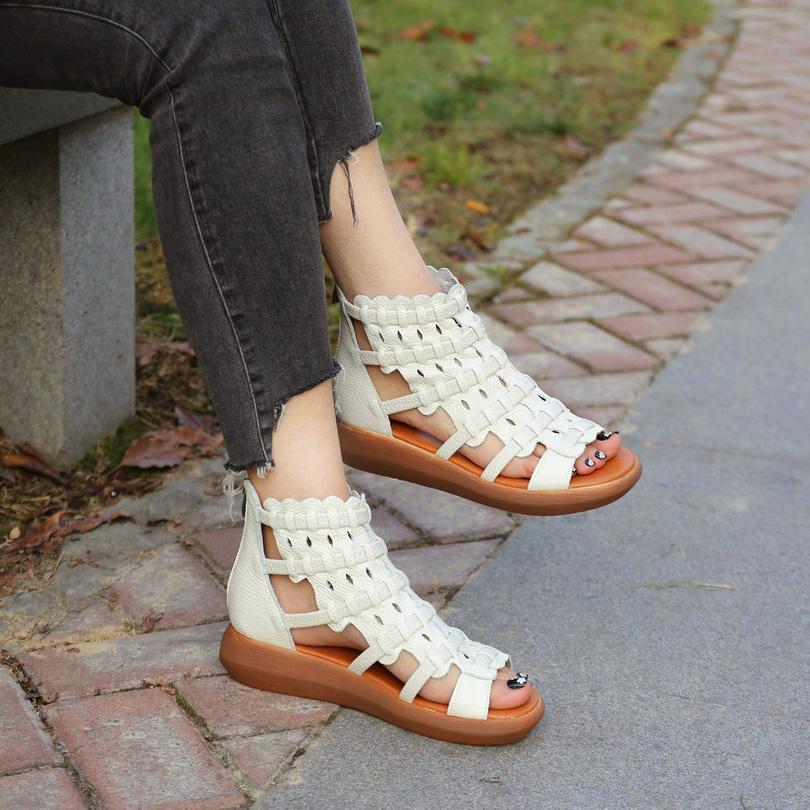 凉鞋女-蕾丝高帮凉鞋