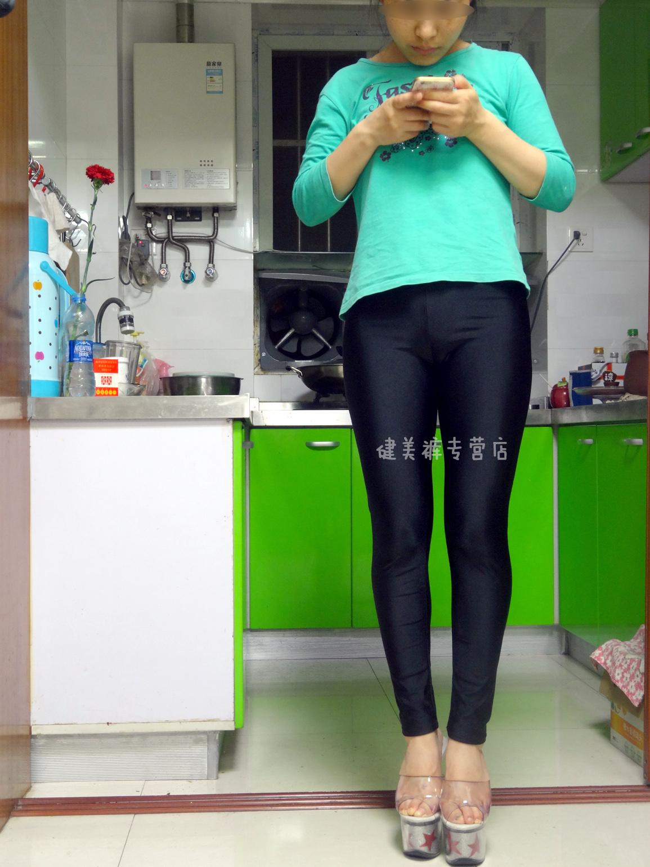 热卖光泽裤健美裤九分裤紧身打底裤靴裤 银灰色氨纶有光弹力柔软现货