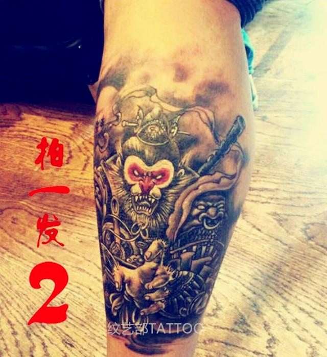 安全环保 齐天大圣孙悟空纹身贴 胸贴花臂防水男女纹身贴纸刺青贴图片