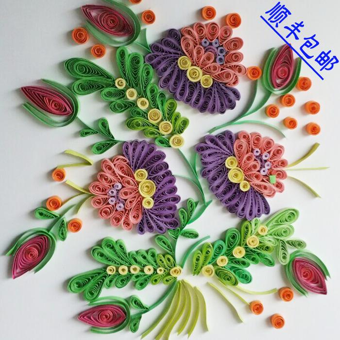 包邮纯手工拼贴diy衍纸画成品复杂花朵图案a4家居装饰创意画墙饰图片