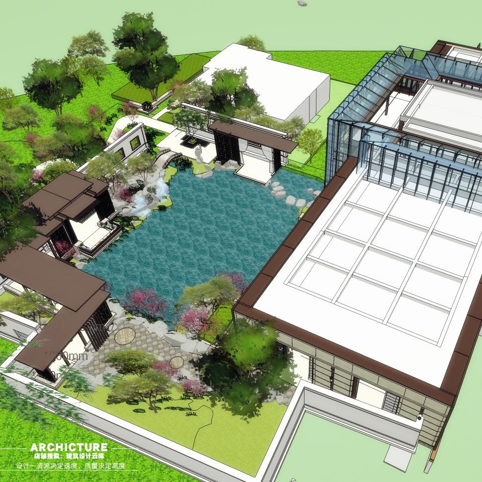 中式水景庭院售楼处景观/会所体验区流线/木亭子连廊设计/su模型图片