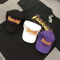 正品现货Thrasher 火焰刺绣logo经典百搭黑白紫棒球帽弯檐帽美版