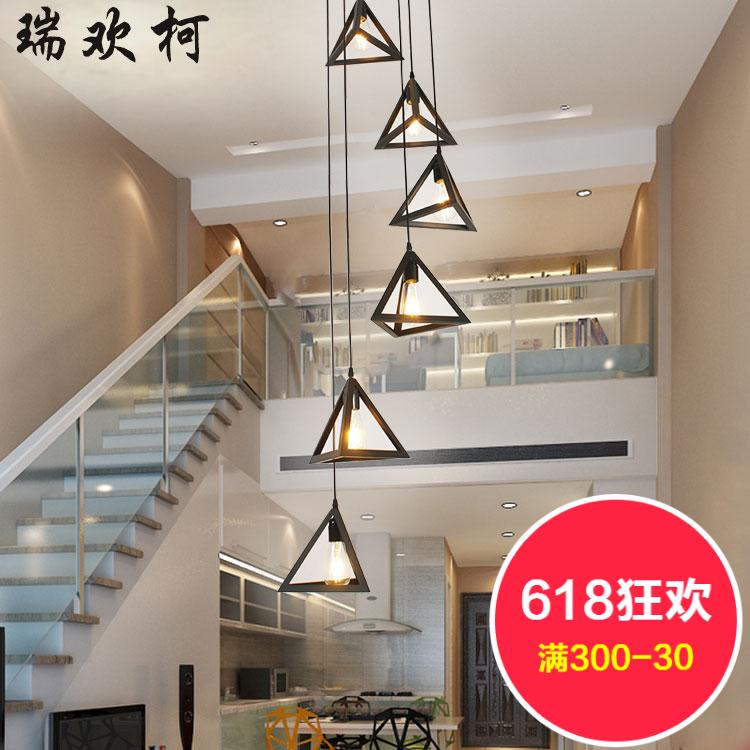 北欧简约楼梯吊灯现代旋转楼梯灯loft公寓复式客厅跃层长吊灯图片
