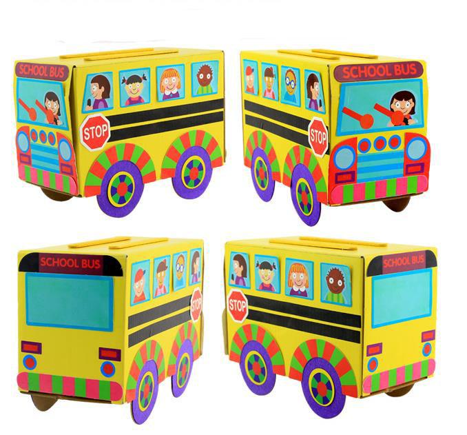 幼儿园儿童手工diy美劳材料创意彩纸立体粘贴小汽车纸盒益智玩具图片