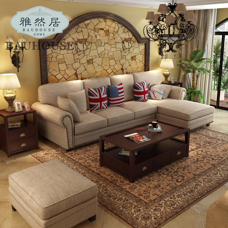 雅然居 美式乡村风格转角沙发 简北欧式沙发三人贵妃布艺沙发组合图片