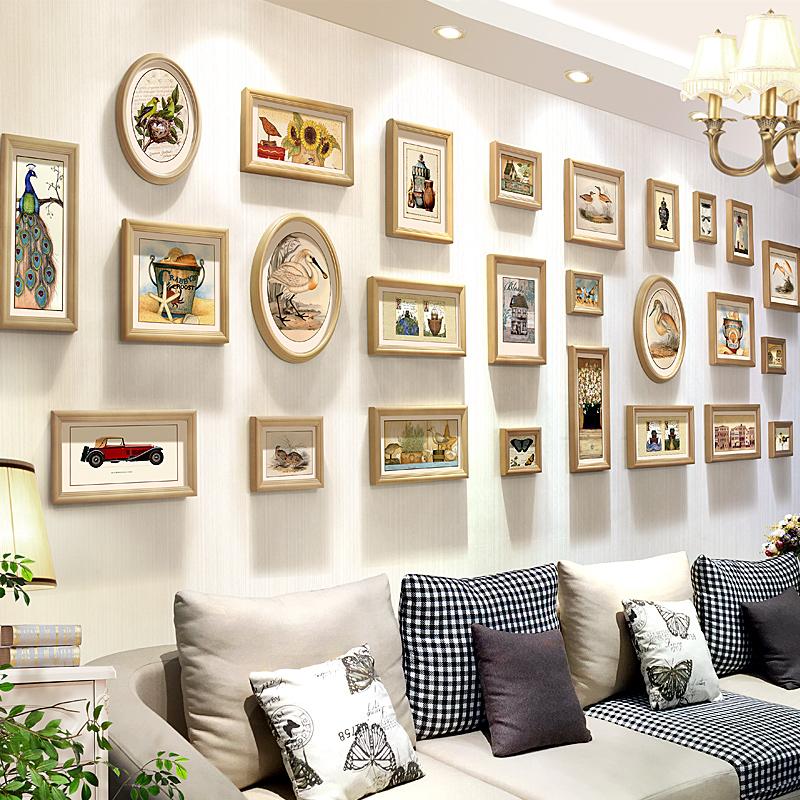 热卖实木欧式挂墙照片墙大客厅大尺寸相框墙组合 创意时尚心形相片墙图片